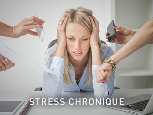 Stress chroniqueUn stress excessif ou prolongé a pour conséquence l'épuisement et une fatigue accrue, une humeur dépressive, des problèmes de concentration, de l'hypertension et des problèmes psychosomatiques tels que troubles gastro-intestinaux, maux de tête ou maux de dos.